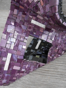 purp black sculputure close up a mercedes mosaics